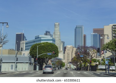 Los Angeles , APR 21: Downtown street view on APR 21, 2017 at Los Angeles, California