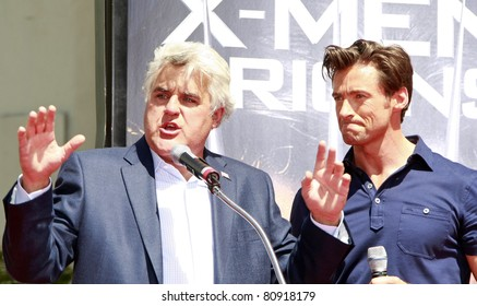 LOS ANGELES - APR 21: Hugh Jackman and Jay Leno at the ceremony for Hugh Jackman who is honored with a hand and footprint ceremony in  Los Angeles, California on April 21, 2009