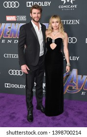 """LOS ANGELES - APR 22:  Liam Hemsworth and Miley Cyrus arrives for the """"Avengers: End Game"""" LOs Angeles Premiere on April 22, 2019 in Los Angeles, CA"""