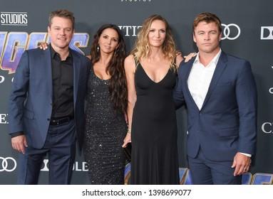 "LOS ANGELES - APR 22:  Matt Damon, Luciana Barroso, Luke Hemsworth and Samantha Hemsworth arrives for the ""Avengers: End Game"" LOs Angeles Premiere on April 22, 2019 in Los Angeles, CA"