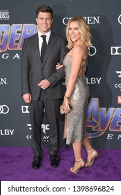 """LOS ANGELES - APR 22:  Scarlett Johansson and Colin Jost arrives for the """"Avengers: End Game"""" LOs Angeles Premiere on April 22, 2019 in Los Angeles, CA"""