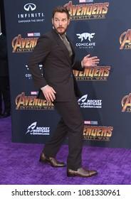 LOS ANGELES - APR 23:  Chris Pratt arrives to the Marvel Studios 'Avengers: Infinity War' World Premiere  on April 23, 2018 in Hollywood, CA