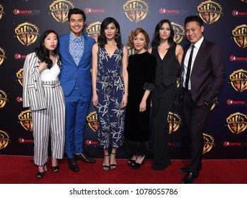 LOS ANGELES - APR 24:  Awkwafina, Henry Golding, Gemma Chan, Constance Wu, Sonoya Mizuno and Jon M. Chu arrives for Warner Bros panal at CinemaCon 2018 on April 24, 2018 in Las Vegas, NV