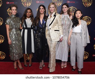LOS ANGELES - APR 24:  Sarah Paulson, Mindy Kaling, Sandra Bullock, Cate Blanchett, Anne Hathaway, Awkwafina arrives to Warner Bros panal at CinemaCon 2018 on April 24, 2018 in Las Vegas, NV
