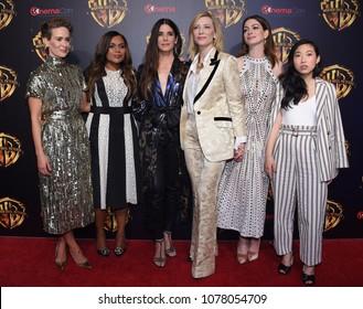 LOS ANGELES - APR 24:  Sarah Paulson, Mindy Kaling, Sandra Bullock, Cate Blanchett, Anne Hathaway, Awkwafina arrives to Warner Bros panal at CinemaCon 2018 on April 24, 2018 in Las Vegas, NV