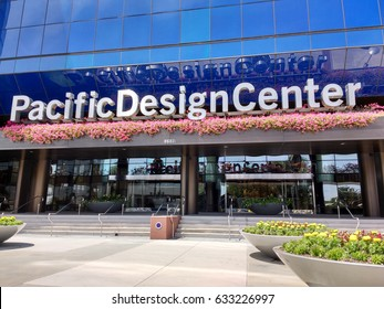 LOS ANGELES, APR 24TH, 2017: The colorful entrance to the Pacific Design Center in West Hollywood, California, which has 130 showrooms displaying upscale interior design. It also hosts special events.