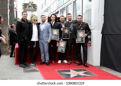 LOS ANGELES - APR 30:  Carson Daly, Ellen DeGeneres, Lance Bass, JC Chasez, Joey Fatone, Justin Timberlake, Chris Kirkpatrick at the *NSYNC Star the Walk of Fame on April 30, 2018 in Hollywood, CA