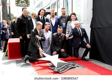 LOS ANGELES - APR 30:  Chamber Officials, Carson Daly, Ellen DeGeneres, NSYNC at the *NSYNC Star Ceremony  on the Hollywood Walk of Fame on April 30, 2018 in Los Angeles, CA