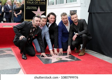 LOS ANGELES - APR 30:  Chris Kirkpatrick, Lance Bass, Joey Fatone, JC Chasez, Justin Timberlake, NSYNC at the *NSYNC Star Ceremony  on the Hollywood Walk of Fame on April 30, 2018 in Los Angeles, CA