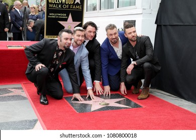 LOS ANGELES - APR 30:  Chris Kirkpatrick, Lance Bass, JC Chasez, Joey Fatone, Justin Timberlake NSYNC at the *NSYNC Star Ceremony  on the Hollywood Walk of Fame on April 30, 2018 in Los Angeles, CA