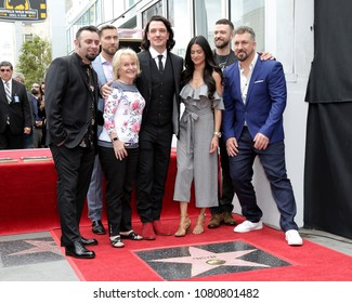 LOS ANGELES - APR 30:  Chris Kirkpatrick, Lance Bass, JC Chasez, Joey Fatone, Justin Timberlake, Guests, NSYNC at the *NSYNC Star ceremony the Walk of Fame on April 30, 2018 in Hollywood, CA