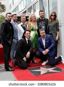 LOS ANGELES - APR 30:  Chris Kirkpatrick, Lance Bass, JC Chasez, Joey Fatone, Justin Timberlake, Guests, NSYNC at the *NSYNC StarCeremony the Walk of Fame on April 30, 2018 in Hollywood, CA
