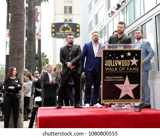 LOS ANGELES - APR 30:  NSYNC, Justin Timberlake at the *NSYNC Star Ceremony  on the Hollywood Walk of Fame on April 30, 2018 in Los Angeles, CA