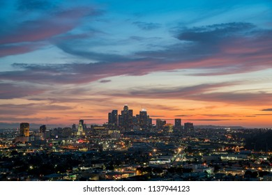 Los Angeles, APR 6: The beautiful sunset view of the beautiful skyline on APR 6, 2018 at Los Angeles, California