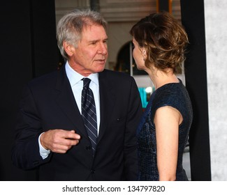 "LOS ANGELES - APR 9:  Harrison Ford, Calista Flockhart arrives at the ""42"" Premiere at the Chinese Theater on April 9, 2013 in Los Angeles, CA"
