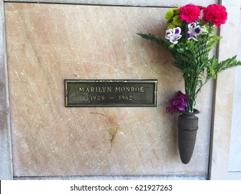 LOS ANGELES - April 13: Marilyn Monroe's Crypt with flowers at Westwood Memorial Park on April 13, 2017. She died on 5th of August 1962.