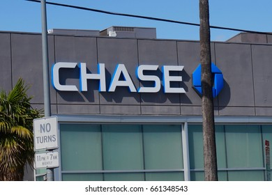 LOS ANGELES, APRIL 13TH, 2017: Close up of Chase sign and logo on the facade of a JP Morgan Chase bank branch.