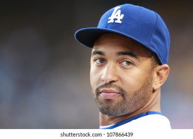 LOS ANGELES - APRIL 16: Dodgers outfielder #42 Matt Kemp before the start of the Giants vs. Dodgers game on April 16, 2010 at Dodgers Stadium in Los Angeles, California.