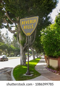 LOS ANGELES - APRIL 2009: Distinctive Road sign on the corner of a street in Beverly Hills.