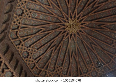 LOS ANGELES - APRIL 2018: UCLA Powell Library ceiling in April 2018 in Los Angeles. One of the four original buildings at UCLA, the Romanesque Revival structure is the main library on campus.