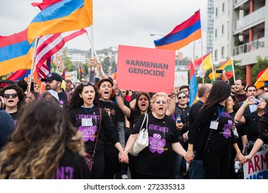 LOS ANGELES - APRIL 24: Armenian Community March on 100th Anniversary of Armenian Genocide. April 24, 2015 in Los Angeles