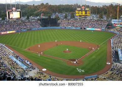 LOS ANGELES - APRIL 25: A baseball game at Dodger Stadium on April 25, 2007 in Los Angeles, California. Opened in 1962 at a cost of $23 million, the famous ballpark seats 56,000 fans.