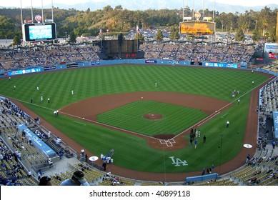 LOS ANGELES - APRIL 25: Dodger fans await a spring baseball game at Dodger Stadium on April 25, 2007 in Los Angeles, California.
