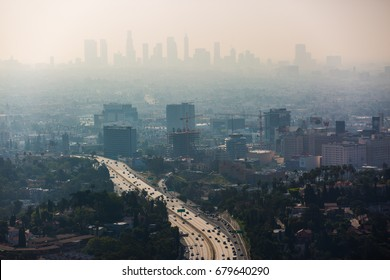 LOS ANGELES - April 4: View of Hollywood from Jerome C. Daniel overlook on April 4 2017 in Los Angeles, CA