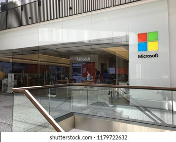 LOS ANGELES, April 6, 2018: Customers inside the Microsoft store at the Westfield Century City mall, seen through the store's glass panels.