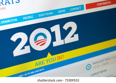 LOS ANGELES - APRIL 7: Democratic party homepage launching Obama's 2012 presidential campaign. He's looking to be re-elected. The website asks: Are you in? On April 7, 2011 in Los Angeles California.