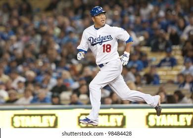 LOS ANGELES - APRIL 9: Los Angeles Dodgers P Hiroki Kuroda #18 in action during the MLB game between the Atlanta Braves & the Los Angeles Dodgers on April 9 2011 at Dodger Stadium in Los Angeles.