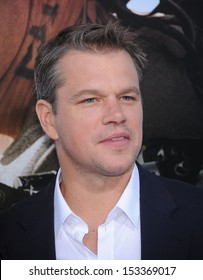 "LOS ANGELES - AUG 07:  Matt Damon arrives to ""Elysium"" World Premiere  on August 07, 2013 in Westwood, CA"
