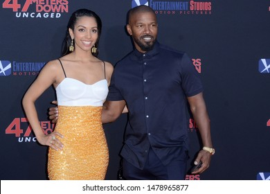 "LOS ANGELES - AUG 13:  Corinne Foxx, Jamie Foxx at the ""47 Meters Down: Uncaged"" Los Angeles Premiere at the Village Theater on August 13, 2019 in Westwood, CA"