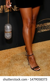 LOS ANGELES - AUG 13:  Melanie Liburd, bag detail, shoe detail at the NBC And Universal EMMY Nominee Celebration at the Tesse Restaurant on August 13, 2019 in West Hollywood, CA