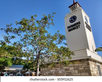 LOS ANGELES, AUG 13TH 2016: The clock tower at the Farmer's Market at 3rd and Fairfax Avenue. The historic market first opened in 1934 and has been frequented by many celebrities over the years.