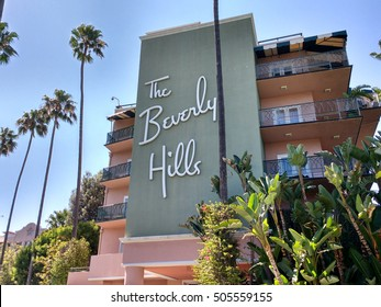 LOS ANGELES, AUG 13TH, 2016: The Beverly Hills Hotel facade. The hotel has been a playground for the rich, and legendary film stars, since its opening in 1912