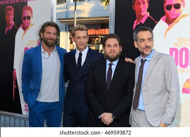 "LOS ANGELES - AUG 15:  Bradley Cooper, Miles Teller, Jonah Hill, Todd Phillips at the War Dogs"" Premiere at the TCL Chinese Theater IMAX on August 15, 2016 in Los Angeles, CA"