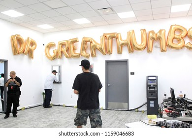 LOS ANGELES - AUG 15: Clients inside the store at the Dr. Greenthumb's Cannabis Dispensary Opening (owned by musician B-Real) at 12751 Foothill Blvd. on August 15, 2018 in Sylmar, Los Angeles, CA