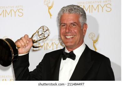 LOS ANGELES - AUG 16:  Anthony Bourdain at the 2014 Creative Emmy Awards - Press Room at Nokia Theater on August 16, 2014 in Los Angeles, CA