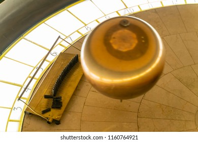 Los Angeles, AUG 16: Antique metal ball in Griffith Observatory on AUG 16, 2018 at Los Angeles, California