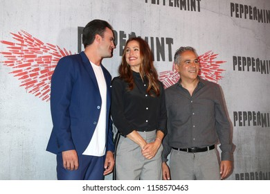 "LOS ANGELES - AUG 17:  Juan Pablo Raba, Jennifer Garner, John Ortiz at the Photo Call For STX Films' ""Peppermint"" at the Four Seasons Hotel on August 17, 2018 in Beverly Hills, CA"