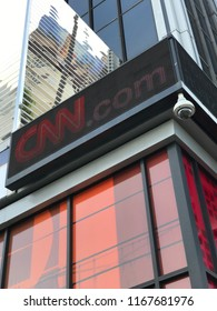 LOS ANGELES, AUG 20, 2018: Low angle shot of the CNN logo on the electronic sign at the company's LA headquarters at 6430 W. Sunset Boulevard in Hollywood.