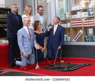 LOS ANGELES - AUG 20:  Carell, Judy Greer, Cranston,  O'Farrell, Jennifer Garner, Leron Guber at the Jennifer Garner Star Ceremony on the Hollywood Walk of Fame on August 20, 2018 in Los Angeles, CA