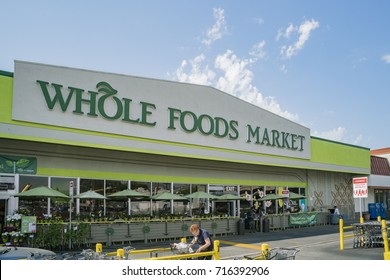 Los Angeles, AUG 31: Exterior view of Whole Foods Market on AUG 31, 2017 at Los Angeles, California, U.S.A.