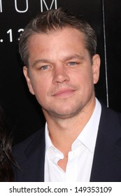 """LOS ANGELES - AUG 7:  Matt Damon arrives at the """"Elysium"""" World Premiere at the Village Theater on August 7, 2013 in Westwood, CA"""