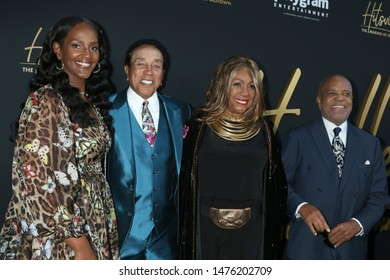 """LOS ANGELES - AUG 8:  Ethiopia Habtemariam, Smokey Robinson, Mary Wilson, Berry Gordy at the """"Hitsville: The Making Of Motown"""" Premiere at the Harmony Gold Theater on August 8, 2019 in Los Angeles, CA"""
