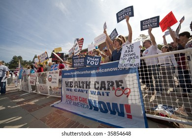 LOS ANGELES - AUGUST 21: The healthcare debate overshadowed the climate change panel with Henry Waxman (D-CA) at UCLA, Los Angeles on Aug 21, 2009. Supporters and opponents rally outside the meeting.
