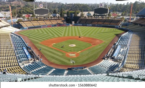 Los Angeles - August 24, 2019: Empty Dodger Stadium at Chavez Ravine