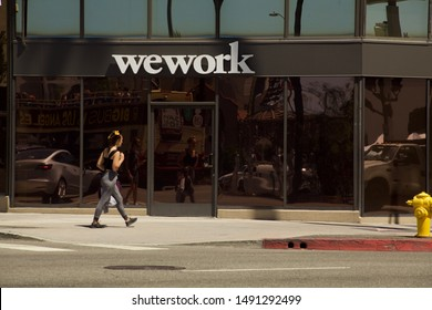 Los Angeles - August 29, 2019: WEWORK shared work space offices on Hollywood Blvd.