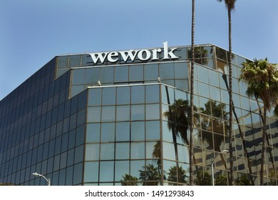 Los Angeles - August 29, 2019: WEWORK shared workspace building on Hollywood Blvd.